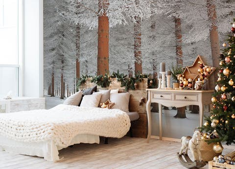 Create A Winter Wonderland With This Removable Christmas Wallpaper