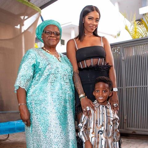 Tiwa Savage Shows Off Her Son's Colorful Handiwork
