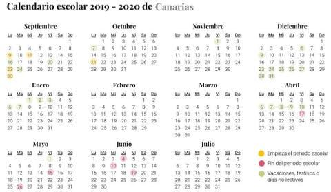 Calendario Escolar De Canarias Para El Curso 2019 2020