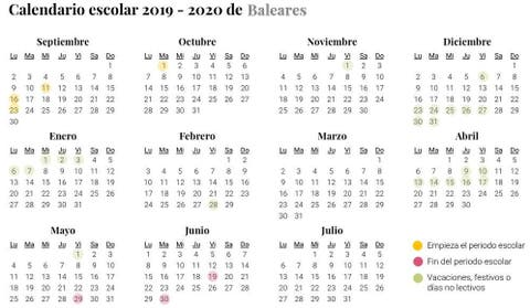 Calendario Escolar De Baleares Para El Curso 2019 2020