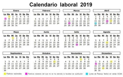 Calendario Laboral Espana 2019.Dias Laborables Espana