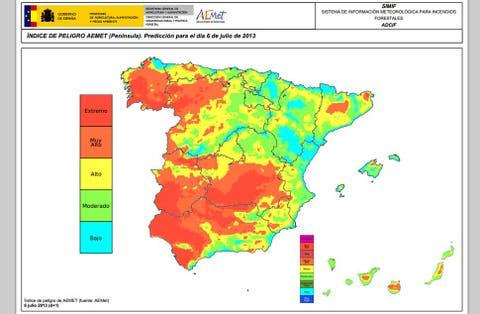 El Mapa De Riesgo De Incendio Forestal En Espana